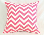 READY TO SHIP Decorative Pillow Cover - Chevron Hot Pink & White - 20 X 20Accent Throw Pillow - Baby Nursery Decor - Dorm Decor - Preppy