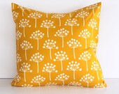 2 Decorative Pillows . Saffron - Mustard Yellow Buds . 18 x 18 Accent Cushions Covers