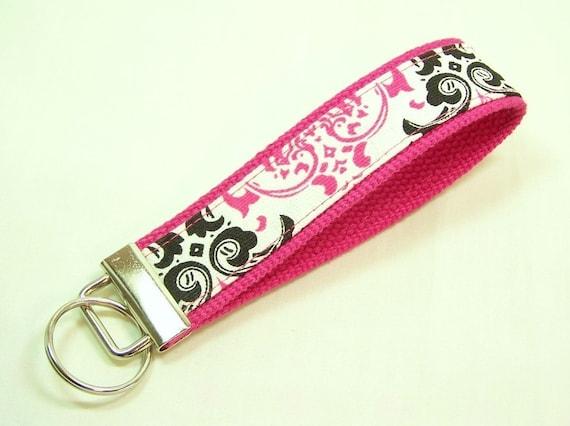 WRISTLET KEY FOB Keychain . . . Pink and Black Damask on Hot Pink