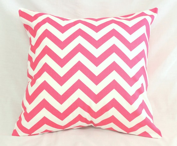 Ready Made Decorative Pillow Covers : READY TO SHIP Decorative Pillow Cover Chevron Hot Pink