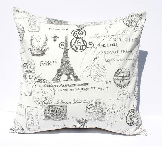 Decorative Pillows Cover - Gray & White French Stamps Postmark . 18 x 18 Cushion Accent