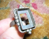 Vintage ethnic Old Mexico silver ring without stone Hippie BOHO