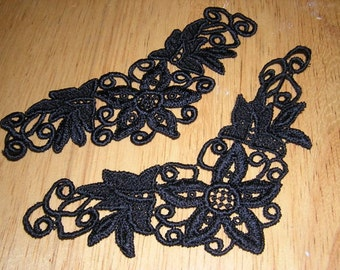5 Black Goth Venise Lace Appliques Victorian inspired