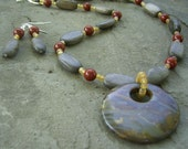 Boondocks - Jasper and Wood Necklace and Earrings Set