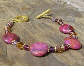 Marrakesh - Ruby Red Crazy Lace Agate and Swarovski Crystal Bracelet