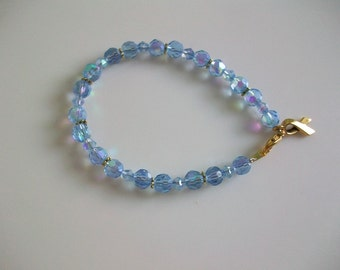 PH Awareness Bracelet - Periwinkle Rounds Gold - 8in