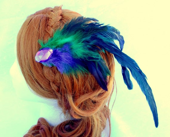 Green and Purple Feather plume hair fascinator, Jeweled feather fascinator, feather plumes hair clip, mardi gra hair clip