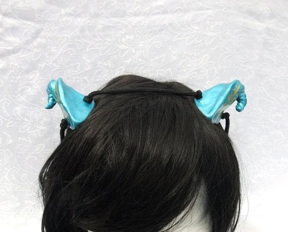 Water Dragon Horns, Aqua Horns with Gold Detail, Twisted Dragon Horns, Water Nymph Horns, Demon Horns, Satyr Horns, Cosplay Horns