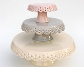 Lace cake plates... set of 3... in soft colors... MADE TO ORDER