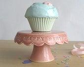 Tiny Happy Birthday Cake Stand - Hibiscus Pink