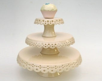 Lace cake plates - set of 3 - MADE TO ORDER