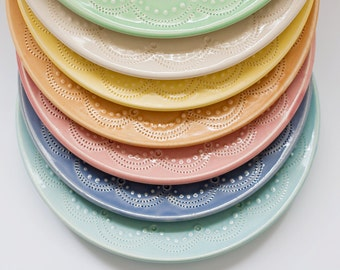 MADE TO ORDER - Set of 2 - Pottery Plates - Your Color Choice