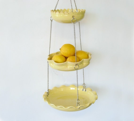 Set of 3 hanging bowls... in yellow with unmatchy edges.