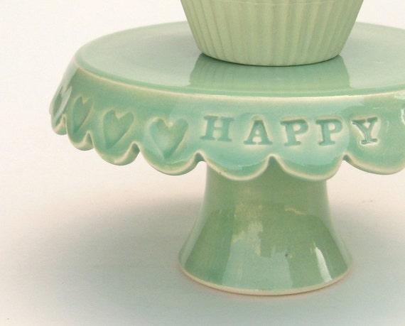 Tiny cake stand... happy birthday spring green cupcake plate.