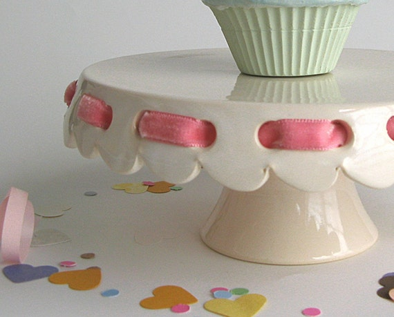 """Small 7"""" cake stand... eyelet with pink velvet ribbon."""