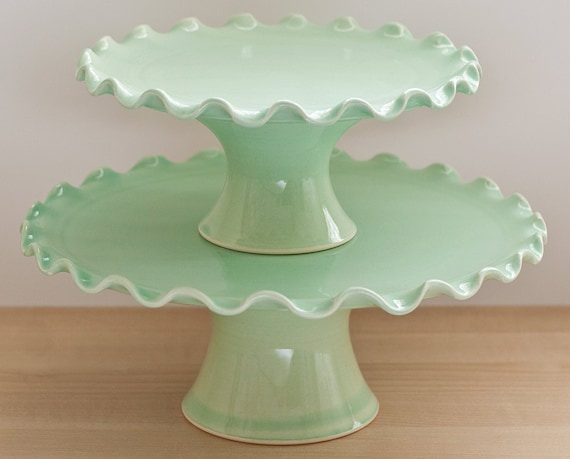 "Cake Stand Tier Set - Medium 10"" and Small 7"" - Ruffle Stands - Green"