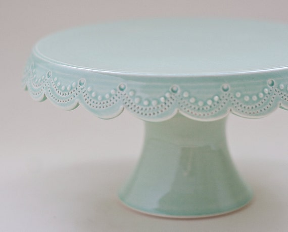 Small Cake Stand 7 Inch Green Scallop Stitching