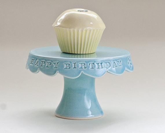 Cupcake Stand - Happy Birthday - Aqua