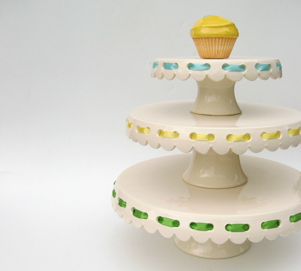 Set of 3 eyelet cake plates with ribbons made to order for Pretty cake stands