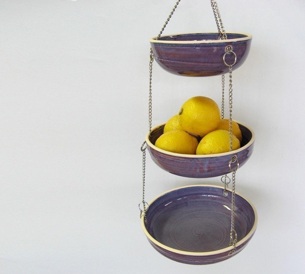 Hanging Fruit Basket Set Of 3 Purple