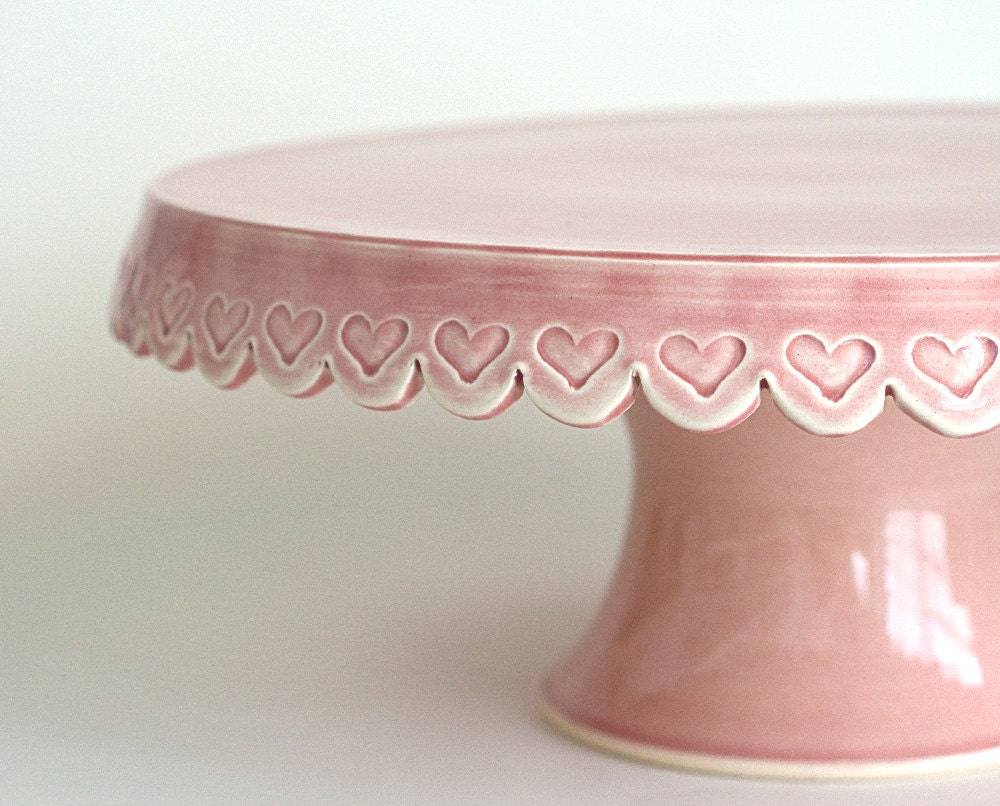 Heart Cake Stand 12 Inch Pink