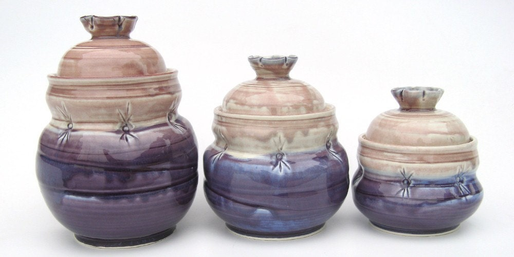 kitchen canister set in purple and brown with dimples purple kitchen canister sets