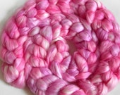 MMMM, PURDY - 2oz Milk fiber - hand-dyed pink and lavender top for spinning - PIgtails from COLORBOMB