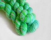 DOUBLE BUDGIE-SICLE  - Hand-dyed mini skein sw merino yarn 10g fingering sock weight wool in aqua blue and lime green