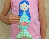 Girls Little Mermaid Cloth Doll - Birthday Gift - Blue Hair