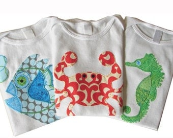 3 Piece Baby Sea Critters Bodysuit Gift Set - Fish, Crab, Seahorse - 3 to 6 Month, 6 to 12, 12 to 18, 18 to 24 Months Sizes - SHORT SLEEVES
