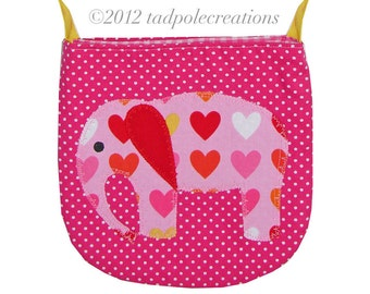 Girls Pink Elephant Pocket Purse - for Little Girls - First Purse - Valentines Day