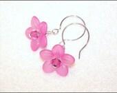 Hot Pink lucite and crystal flower beaded earrings - dangle earrings - drop earrings - teen gift