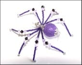 Ziggy Stardust - purple and black glass beaded spider goth sun catcher - Halloween - Christmas ornament
