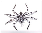 Spike - black and white glass beaded spider goth sun catcher - Halloween - Christmas ornament