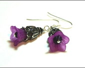 Purple and black lucite flower and crystal gothic beaded earrings - dangle earrings - drop earrings