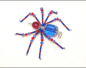Peter - red and blue glass beaded spider goth sun catcher - Halloween decoration - Christmas ornament