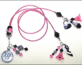 The Taming of the Shrew - black and pink glass double strand beaded bookmark / bookthong ribbon
