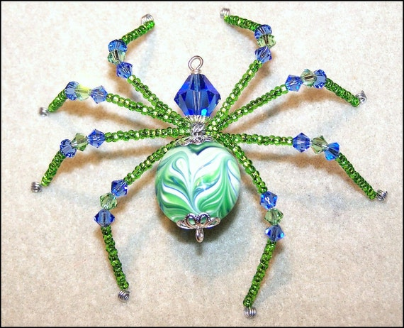Springtime - Beaded glass spider sun catcher BHV