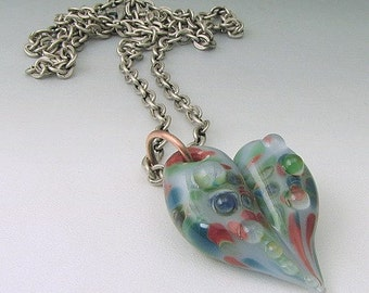 Borosilicate Glass Heart Pendant  Spring Collection