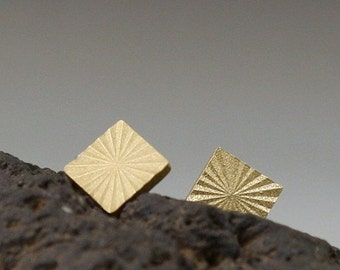 Brass Sterling Silver Square Earrings Stud Starbursts