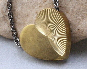 Brass Heart Solitaire Necklace - Weekend in Paris