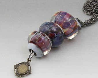 Boro Borosilicate Lampwork Beads Stacked Necklace Enameled Bead Caps Gunmetal Interchangeable - Blackberry Jam