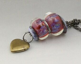 Boro Borosilicate Beads Stacked Necklace Enameled Bead Caps Gunmetal Interchangeable Lampwork - Grandma's Kitchen