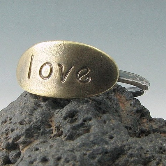 Mixed Metals Oval Brass and Sterling Silver Ring  LOVE