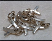 7 Each Sterling Silver Awareness Ribbon Charms with O ring