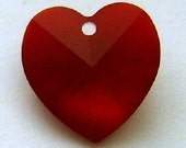14mm Siam Swarovski Crystal Heart, on silver Beadalon wire RESERVED FOR COURT