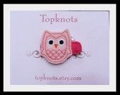 Pink Felt Owl Hair Clip