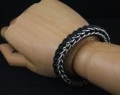 Stretchy Bright Aluminum and Black Bracelet