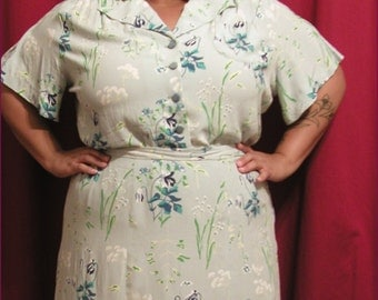 1930s 48 bust Handmade vintage inspired reproduction rayon flower blouse and skirt set PLUS SIZE