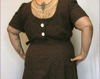 1940s reproduction brown cotton sport eyelet low back dress 48 to 50 bust PLUS SIZE